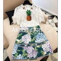 Svoryxiu Designer Summer White Lace T Shirts Women's Manual Beading Diamonds Pineapple Elegant Relief Lace Tops Tees