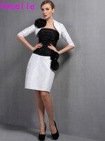 Blanco Y negro de La Envoltura Simple Longitud de La Rodilla Corto de Dos Piezas madre De La Novia 2017 Trajes Con Chaqueta de Flores Madre vestido