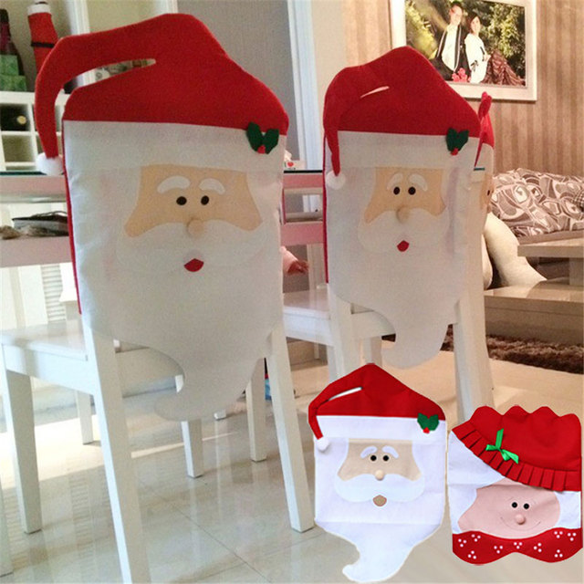 New Lovely Christmas Chair Covers Mr Mrs Santa Claus Xmas Decoration Dining Room Chairs Cover