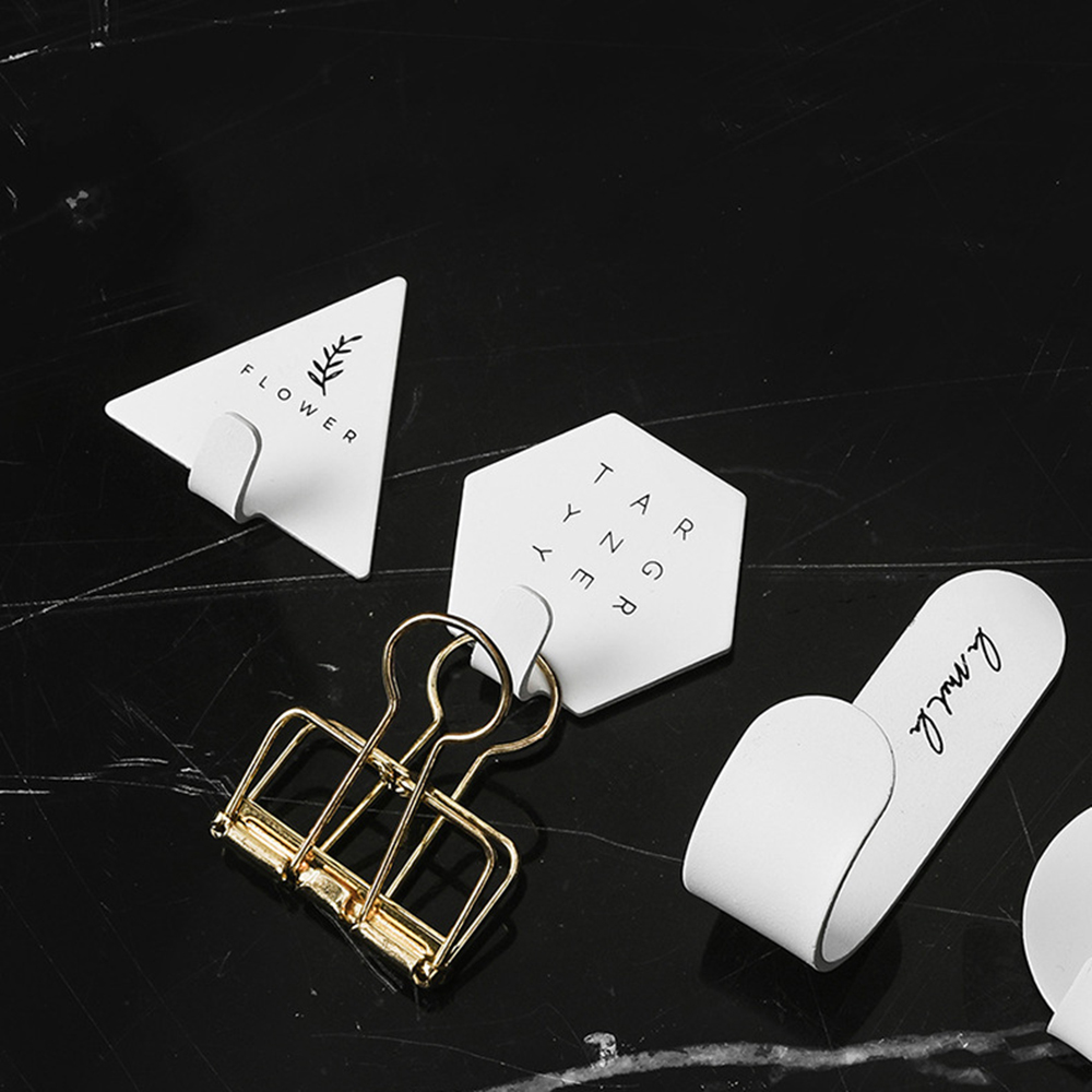 4pcs Simple Geometric Elements Key Hook Wall Coat Hanger Letter Rack Key Holder Self-adhesive Stand For Home Decoration