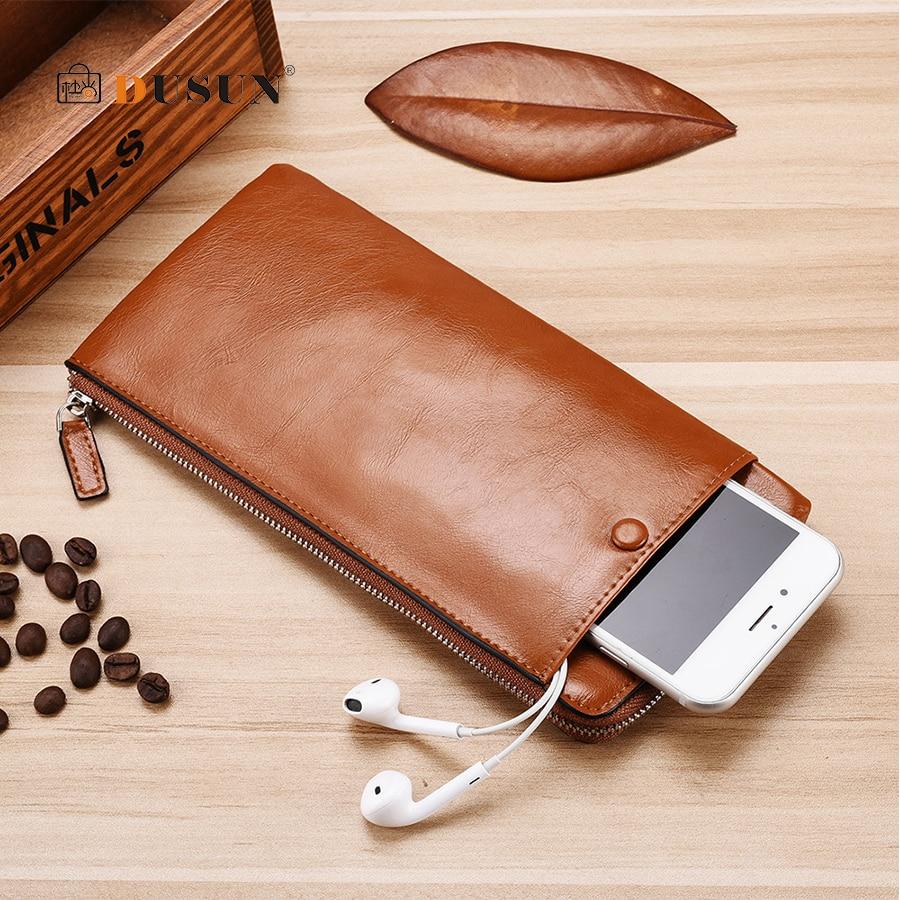DUSUN Top Quality Leather Long Wallet Men Coin Pruse Male Clutch Zipper Around Wallets Men Women