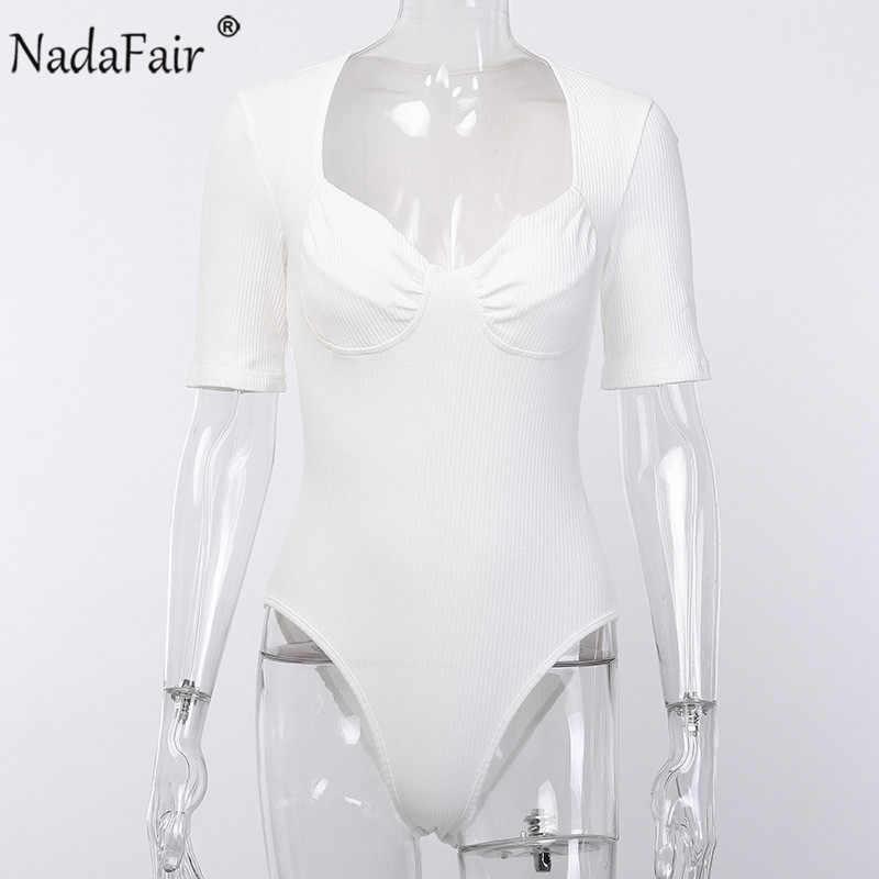 Nadafair, белый, черный, u-образный вырез, женский, короткий рукав, сексуальный, боди, ребра, обтягивающий, Повседневный, вязаный, боди, комбинезоны, базовые Топы