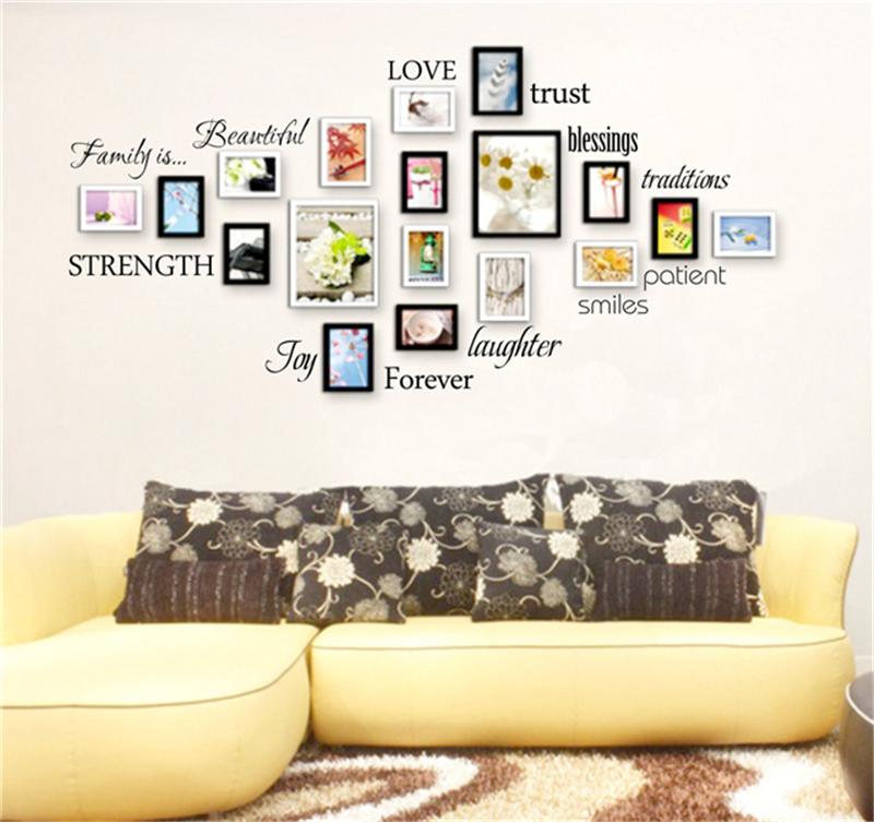 diy caliente familia marco de la foto etiqueta de la pared amor bendicin home decals sticker