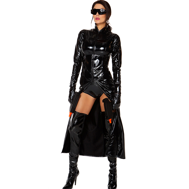 a17703f5596 Women s Faux Leather Halloween Reloaded Costume Sexy Black Wetlook Bodysuit  Cosplay Club Wear Vinyl Catsuits Open Crotch Catsuit