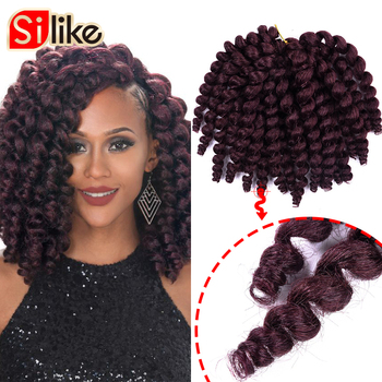Silike 8 inch Ombre Jumpy Wand Curl Crochet Braids 22 Roots Jamaican Bounce Synthetic Crochet Hair Extension for Black Women