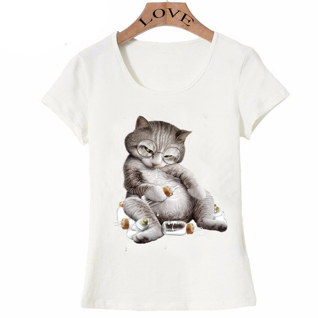 08e1ac3c 2017 new summer fashion Harajuku design drunk cat T-Shirt supper funny cat  shirts novelty womens Tops hipster cool girl Tee