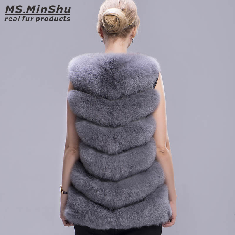 De D'hiver Ms Veste Minshu Renard Fourrure Gilet Outwear Femmes Manches Épaisseur Réel Sans Mode Véritable 5TxwYpOO
