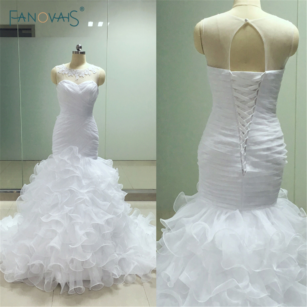 Long Puffy Skirt Wedding Dress Real Picture Lace Up Latest