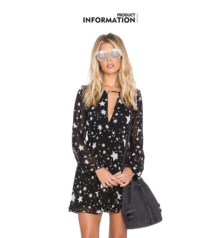 DOMODA Solide Noir Étoiles Imprimé Robes D'été Femmes V-cou Sheer Mini Robe De Mode Sexy Party & Club Casual Robe Femme 14
