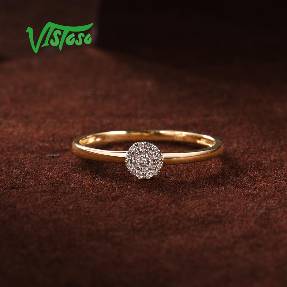 VISTOSO pur 14K 585 or jaune scintillant diamant délicat anneau de cercle rond pour les femmes anniversaire bijoux fins à la mode - 5