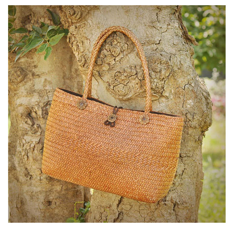 Rattan grass Big  Bags Handmade Woven Tote Women Travel Handbags Designer Vintage Shopping Hand Bags Shoulder Bags bearberry 2017 big straw bags handmade woven tote women travel handbags vintage shopping bags large beach handbags mn616