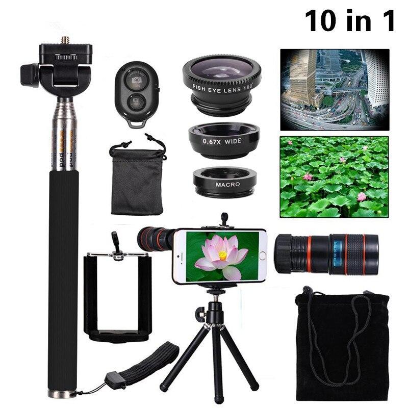 Multi-function 10in1 Phone Camera Lens Kit 8x Telephoto Lenses Fisheye Wide Angle Macro Lentes Selfie Mini Tripod For iPhone 6 7