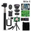 Multifunción 10in1 Teléfono Lente de La Cámara Kit de 8x Teleobjetivo Lentes de ojo de Pez lentes de gran angular macro selfie mini trípode para iphone 6 7