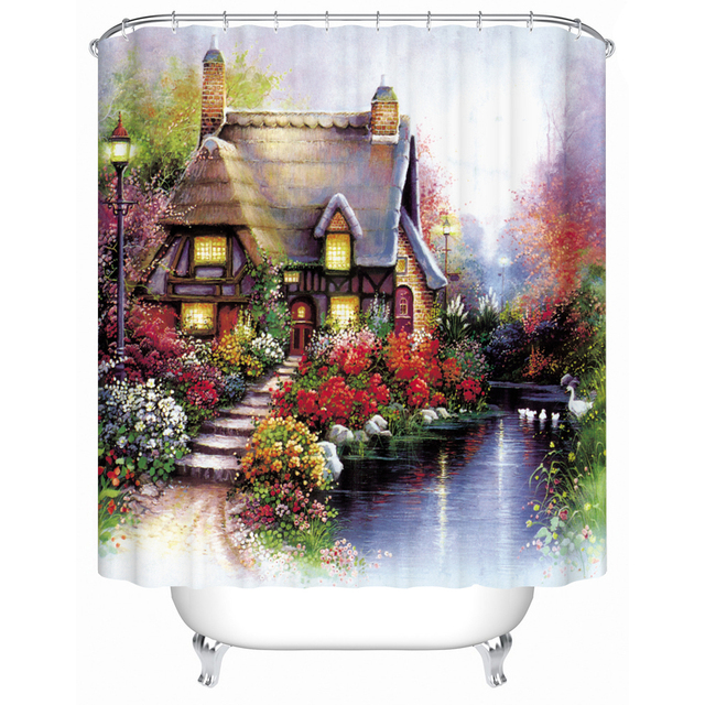 Printed On Waterproof Fabric Shower Curtain Forest Cabin Bathroom Environmentally Friendly Home FJ 029