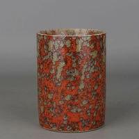 Pintura chinesa Antiga Porcelana Flor Qing Qianlong Porcelana Caneta Pote Recipiente Caneta Titular|Estátuas e esculturas| |  -