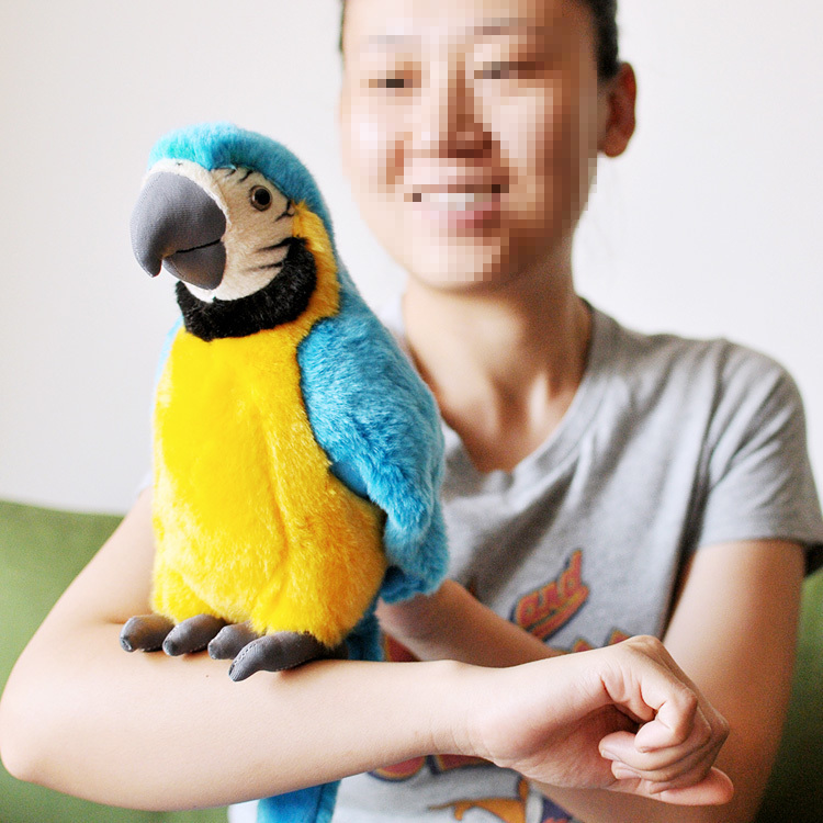new plush simulation blue parrot toy macaw toy cute mara parrot toy gift about 26cm 0048