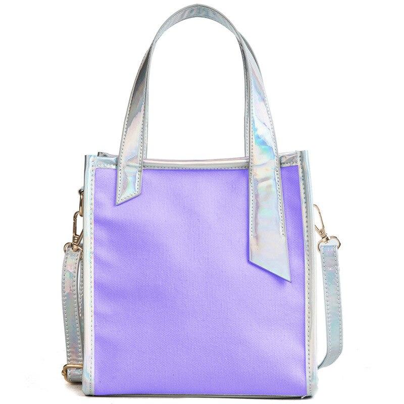Bucket Bag PVC&Canvas Shoulder Bag Laser Handbag Zipper Totes