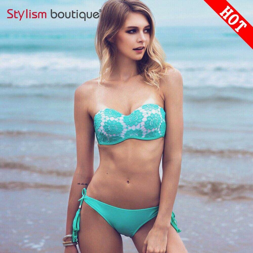 Sexy Bikinis 2017 mujer Vintage Bandeau Crochet Swimsuit Tassel Swimwear Women Push Up Brazilian biquini maillot de bain femme 2017 crochet swimwear women sexy push up