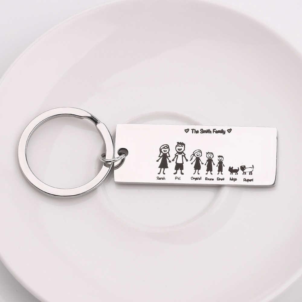 Família Amor Chaveiro Nome Personalizado Personalizado Gravado Para Pais e Crianças Presentes Chaveiro Charme Saco Animais de Estimação