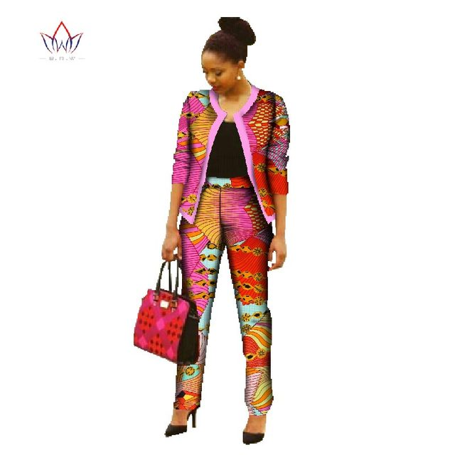 Africa Pant Sets for Women 2018 New Spring  Dashiki Crop Top and Pants Africa Clothing Bazin Plus Size African Clothing WY022