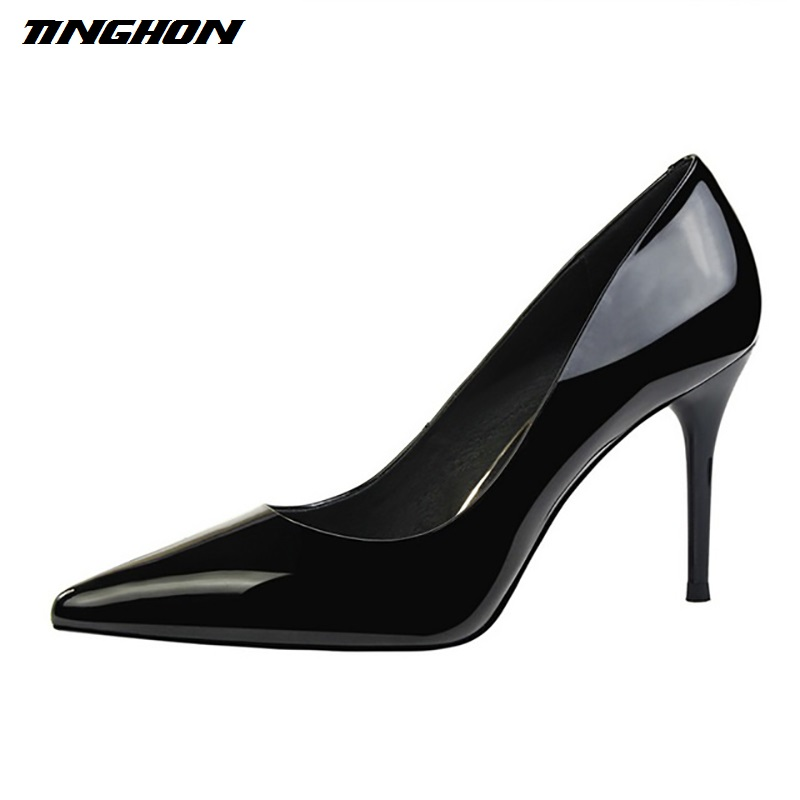 TINGHON Sexy High Heels Women Shoes patent leather studded high heel pumps shoes woman zapatos mujer tacon ladies wedding shoes idg brand women slip on high heels short rough with the fall and winter metal buckle rivets shoes woman zapatos mujer tacon