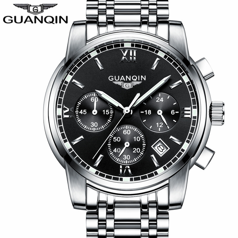 Relogio Masculino GUANQIN Mens Watch Sport Watches Men Luxury Brand Quartz-watch Mens Business full Stainless Steel Wristwatch A weide popular brand new fashion digital led watch men waterproof sport watches man white dial stainless steel relogio masculino