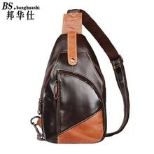 Men hit the First Layer of Color Leather Chest Shoulder bag Leisure Shoulder bag Diagonal Package Shop Men's Leather Bag