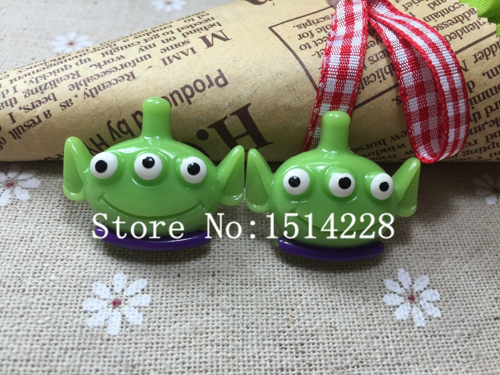 Free shipping!Resin Alien Head for Hair Bow Center phone decoration ,DIY26*31mm