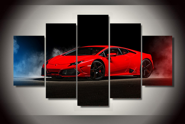 Framed Printed Red sports car Painting children\'s room decor print ...