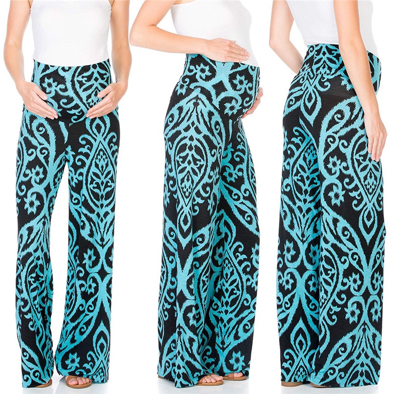 Women Floral Easy Pants Pregnancy Trousers Soft Pregnancy Loose Pants Maternity Clothing Female 40MA14