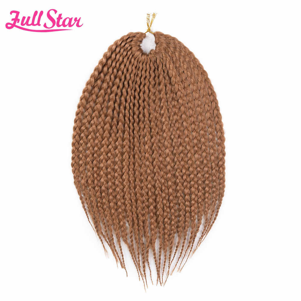 Full Star Short Box Braids Crochet Hair 1 pack 22Root 75g Bug Ombre Brown Blonde color Synthetic Braids Hair for Black Women