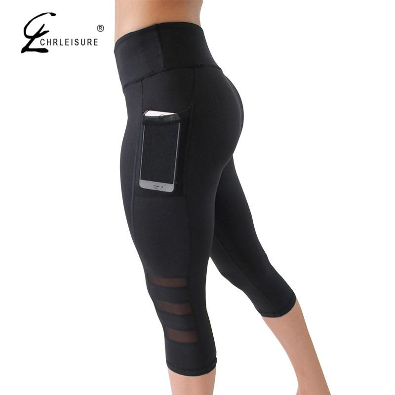 CHRLEISURE Sexy Mesh Fitness Leggings Women Workout Acitivewear Capri Pants Women Fashion Slim Legging with Pocket Breathable