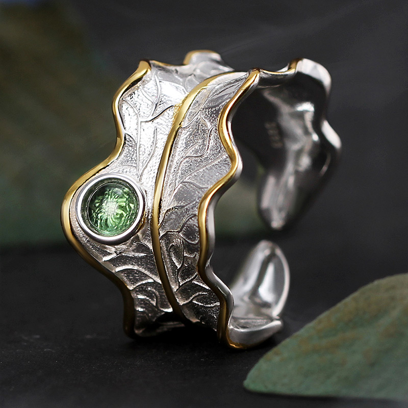 Lotus Fun Real 925 Sterling Silver Ring Natural Tourmaline Gemstones Fine Jewelry Adjustable Peony Leaf Rings for Women Bijoux 10