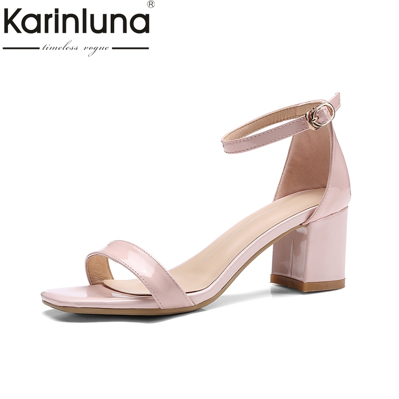 KARINLUNA New Brand 2018 Square High Heel Solid Buckle Strap Women Shoes Office Summer Sandals Woman Shoes