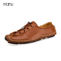 MANLI New Men Genuine Leather Casual Shoes Slip On Black Red Genuine Leather Men's Flats Real Loafers Designer Shoes