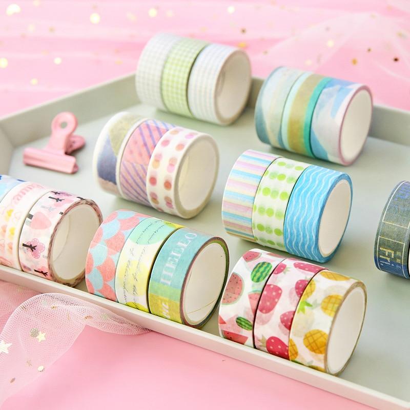 3pcs/pack Fruits Line Dot Grid Washi Tape Diy Decoration Scrapbooking Planner Masking Tape Adhesive Tape Label Sticker