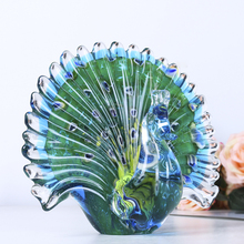 H&D Hand Blown Colorful Peacock Art Glass Table Top Sculpture Room Decor (Peacock)