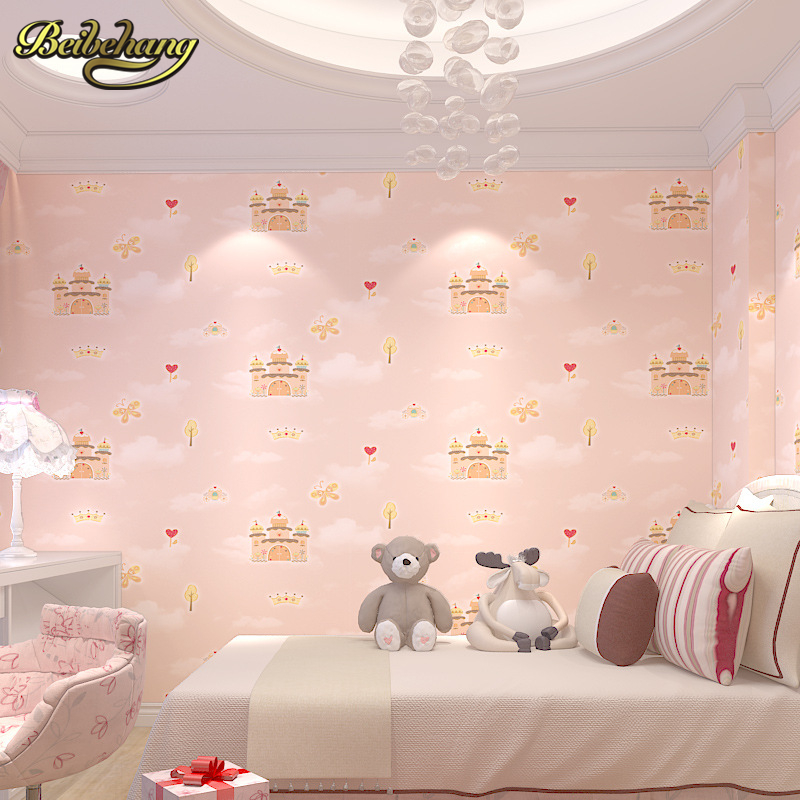 beibehang castle cartoon wall paper roll for children's room men and girls non-woven bedroom wallpaper for walls 3 d living room beibehang non woven wallpaper rolls pink love stripes printed wall paper design for little girls room minimalist home decoration