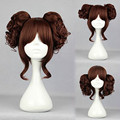 Mcoser 35cm Short Curly Wine Red Cosplay Wig Ponytails Anime Synthetic Wigs for women