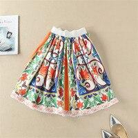 Spring Summer Vintage Skirt Loose A Line Elastic Waist Floral Print Knee Length Casual Skirt Runway