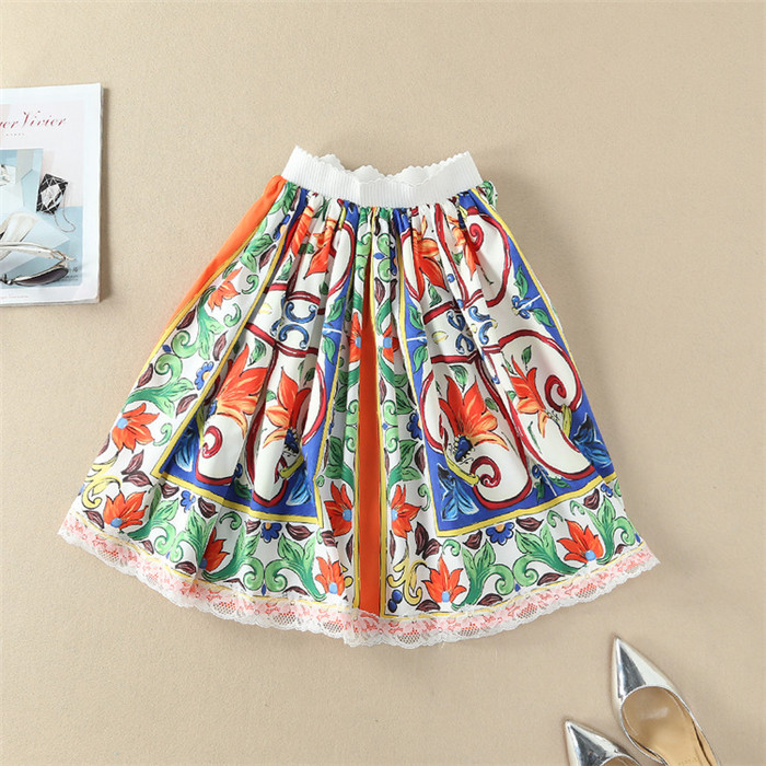 Spring Summer Vintage Skirt Loose A-line Elastic Waist Floral Print Knee Length Casual Skirt Runway Brand Pattern Women Skirts