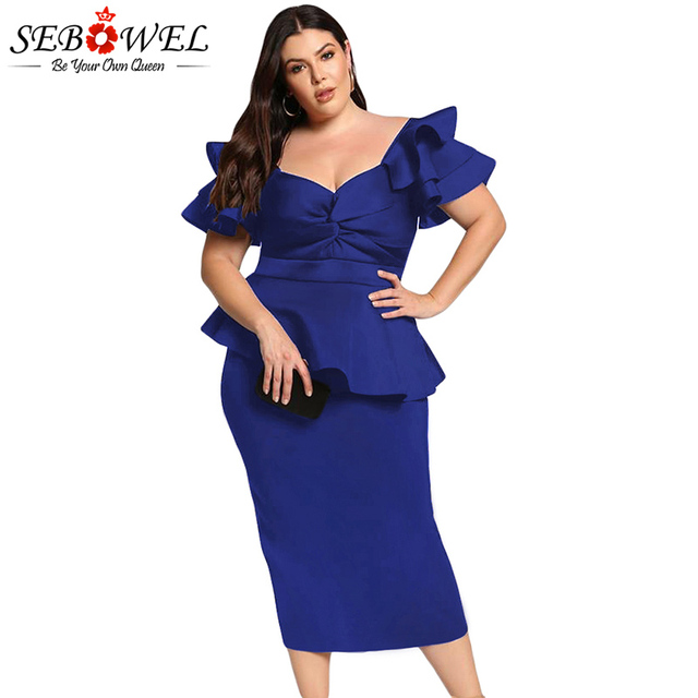 SEBOWEL Blue Plus Size Tiered Sleeve Party Dress Women Sexy Bodycon Twisted  Peplum Dress Big Size 9f9c2bf8d679