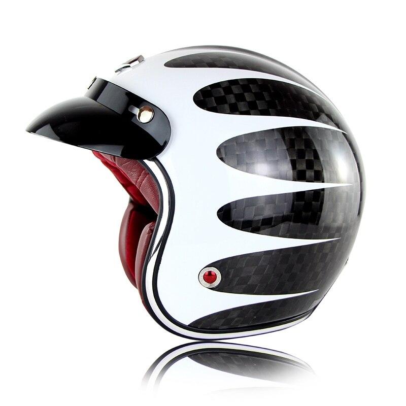 Ruby Pavilion 12K Carbon Fiber Motorcycle Capacete Open Face Helmets Motorcycle Casco Harley Retro Casque ECE Certification