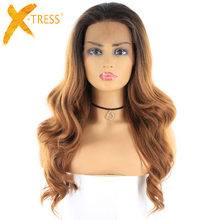 Ombre Brown Blonde Color Synthetic Hair Wigs Middle Free Part X-TRESS Long Body Wave Lace Front Trendy Wavy Wig For Black Women