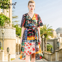 POKWAI Vintage Floral Summer Silk Dress Women 2018 New Fashion High Quality Half Batwing Sleeve V Neck Sashes Straight Dresses