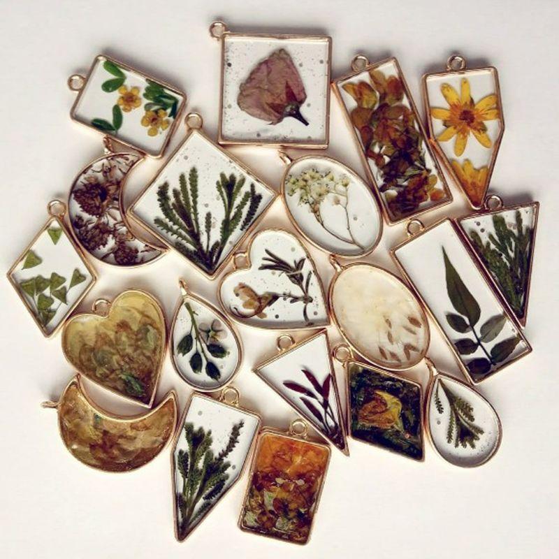 10 pçs redondo pingente imprensa flor diy resina uv moldura moldura em branco jóias fazendo
