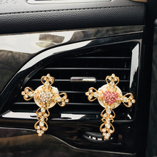 Diamond crystal cross car outlet perfume clip air freshener balm interior accessories ornaments female gifts