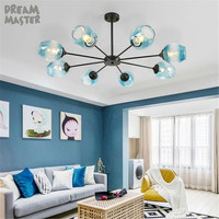 Modern art lamp, blue fading glass shade decor lustre chandeliers, black silver metal chandelier lighting for home living room