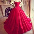 2016 Gothic Ball Gown Red Wedding Dresses Sweetheart Sleeveless Vintage Muslim Arabic Princess Bridal Gown Plus Size