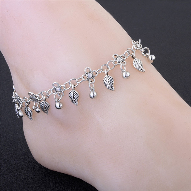 Bohemia Style Small Drop Tels Leaf Anklet For Women S Silver Ankle Bracelet Beads Foot Chain
